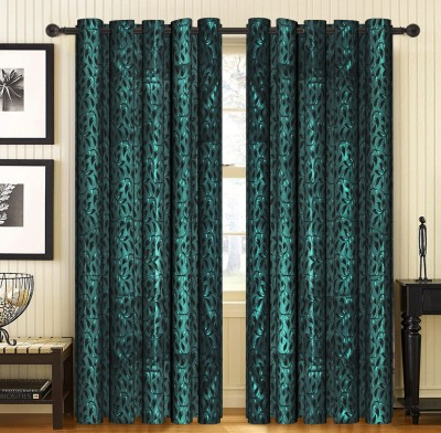 Home Candy Jacquard Green Floral Eyelet Door Curtain