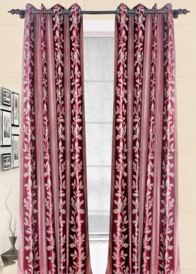 Wraps N Drapz Polyester Maroon Floral Eyelet Door Curtain