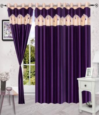 Deco Home Polyester Purple Plain Eyelet Door Curtain
