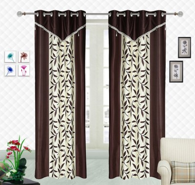 Comfort Zone Polyester Brown And White Abstract Eyelet Long Door Curtain