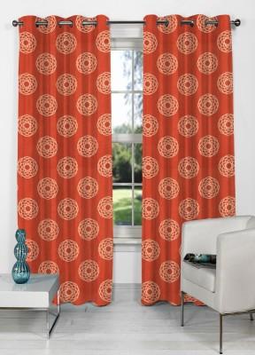 NuHome Decor Polyester Orange Abstract Eyelet Long Door Curtain