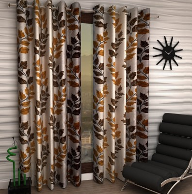 Home Fantasy Polyester Brown Floral Eyelet Window Curtain