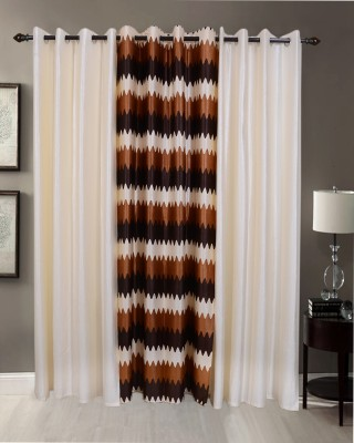 Jds Polyester Cream & Brown Stripes Solid Ring Rod Door Curtain