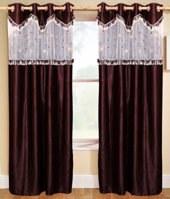 Decor Vatika Polyester Brown Solid Eyelet Door Curtain