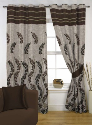 Kings Polycotton Brown Floral Eyelet Door Curtain