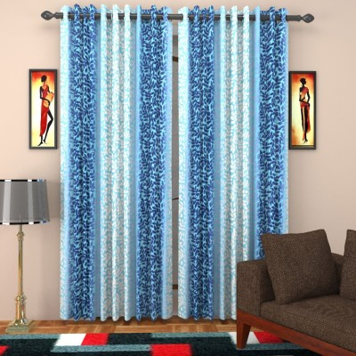 SurprizeMe Polyester Blue Printed Eyelet Window Curtain
