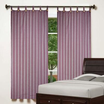 TG Shoppers Cotton Purple Striped Curtain Window Curtain