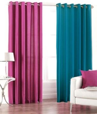 Skytex Polyester Blue, Magenta Plain Curtain Long Door Curtain