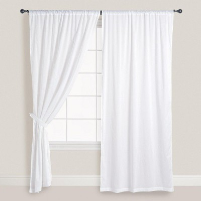 Smart Home Textile Cotton White Solid Eyelet Door Curtain