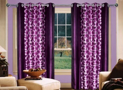 Home Creations Polyester Purple Floral Eyelet Door Curtain