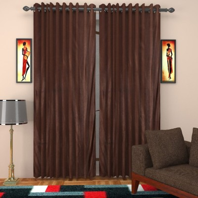SurprizeMe Polyester Brown Solid Eyelet Window Curtain