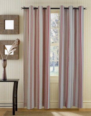 Home Boutique Cotton Red, White Striped Eyelet Long Door Curtain