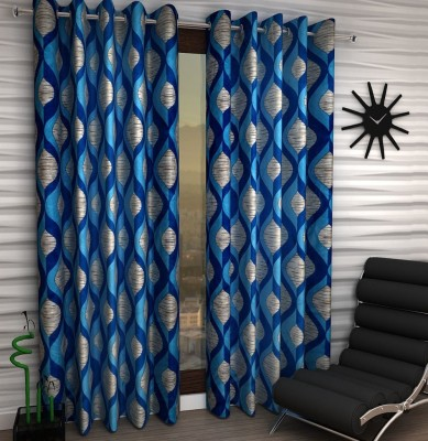 Home Fantasy Polyester Blue Abstract Eyelet Window Curtain