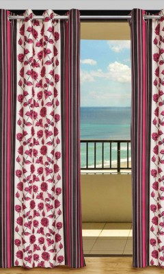 Home Aid Polyester Red Geometric Eyelet Door Curtain