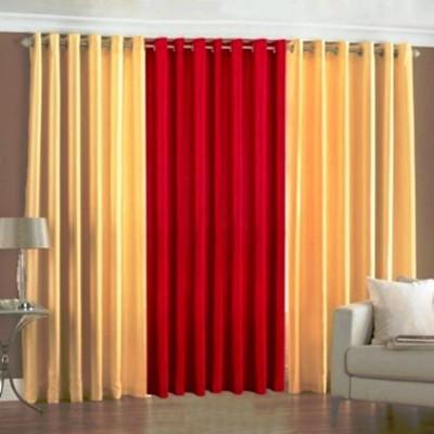 shivamconcepts Polyester Cream, Red, Cream Plain Curtain Door Curtain