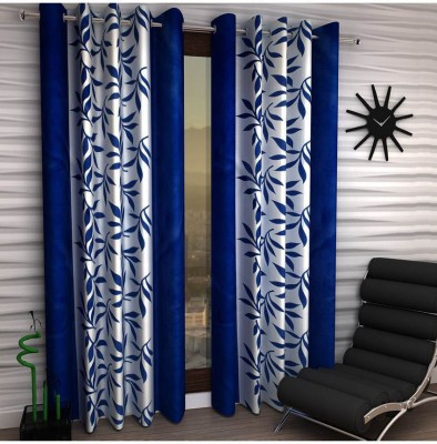 New Ladies Zone Polyester Blue Floral Curtain Window Curtain