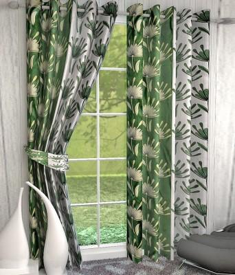 Jai Ganga Polyester Green Floral Curtain Door Curtain