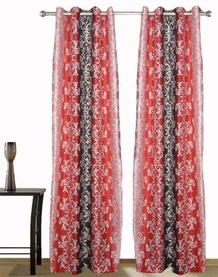 Wonder Collection Polyester Orange Floral Eyelet Door Curtain