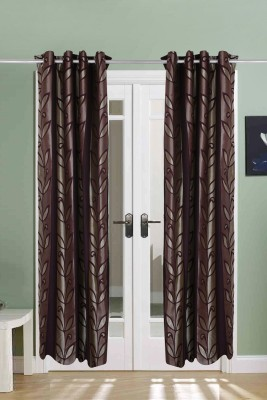 The Handloom Store Polycotton Purple Floral Eyelet Door Curtain