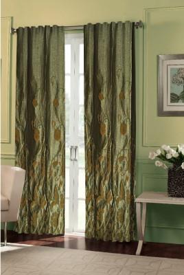 Dreamscape Blends Green Printed Eyelet Door Curtain