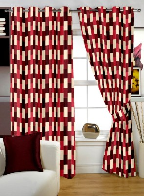 Story @ Home Polyester Red Printed Eyelet Window Curtain