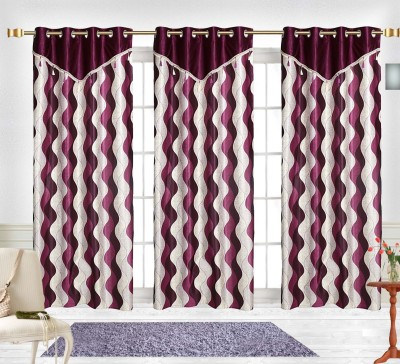 Comfort Zone Polyester Purple And Silver Abstract Eyelet Door Curtain
