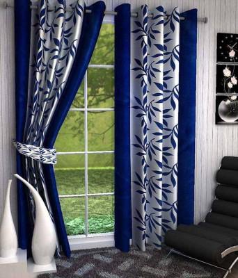 HOMEDECORHD Polyester Blue Floral Curtain Door Curtain