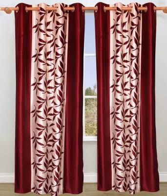 String Polyester Maroon Floral Eyelet Door Curtain