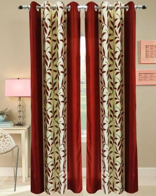 Urban Arts Polyester Red Self Design Tab Top Door Curtain