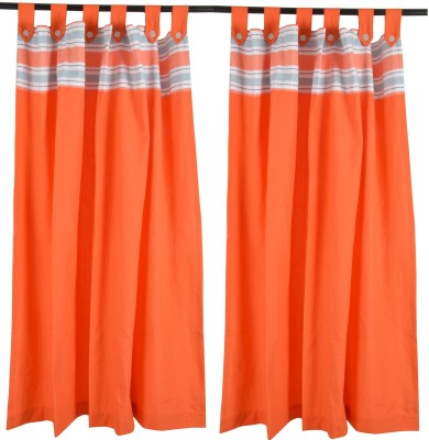 Elite Home Cotton Solid Orange Motif Ring Rod Window Curtain