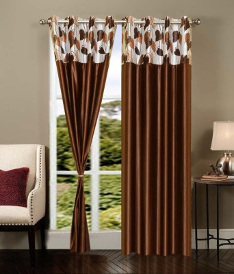 Shopgrab Polyester Brown Printed Eyelet Door Curtain