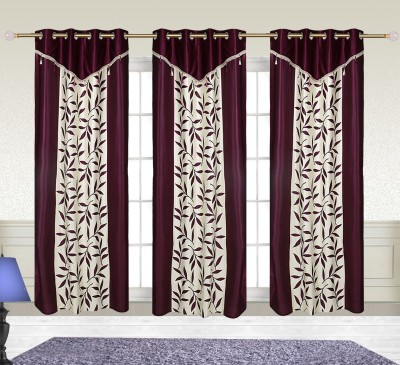 Comfort Zone Polyester Purple And White Leaf Abstract Eyelet Door Curtain