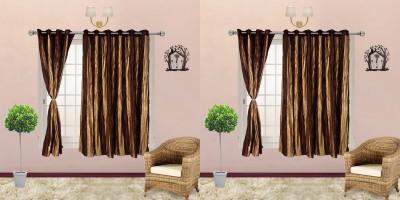 I Catch Blends Brown Striped Curtain Window Curtain