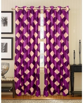 Elegence Polyester Multicolour Checkered Curtain Door Curtain