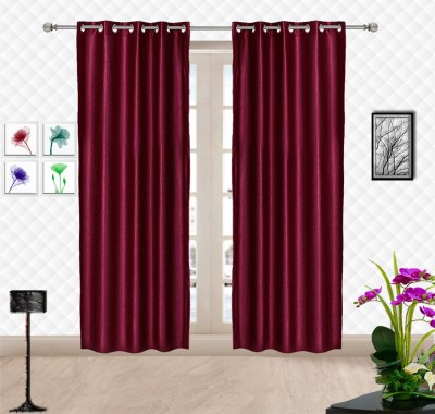 Comfort Zone Polyester Maroon, Red Solid Eyelet Door Curtain