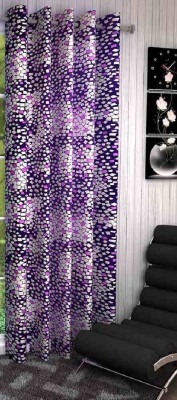 Shopgalore Polyester Purple Abstract Eyelet Window & Door Curtain