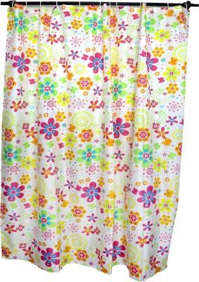 Skap Polyester White Floral Eyelet Shower Curtain