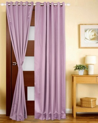 Just Linen Polyester Mauve Solid Eyelet Door Curtain