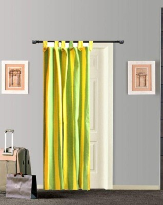Tidy Cotton Green, Yellow Striped Tab Top Door Curtain