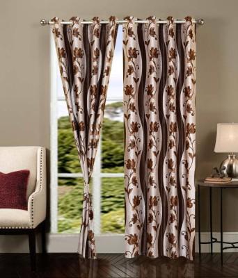 Shopgrab Polyester Brown, Beige Printed Eyelet Door Curtain