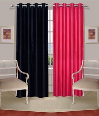 Fogg Polyester Pink, Black Solid Tab Top Door Curtain