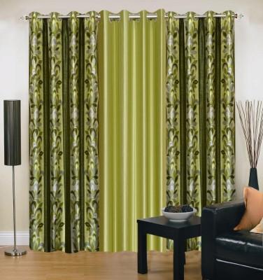 Excel Bazaar Polyester Green Floral Eyelet Door Curtain