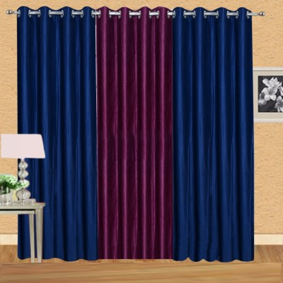 Excel Bazaar Polycotton Neavyblue-1wine Plain Eyelet Door Curtain