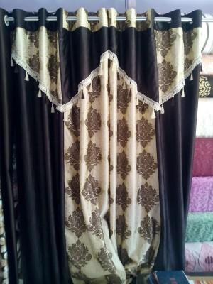 mansuri Polyester coffee Damask Eyelet Door Curtain