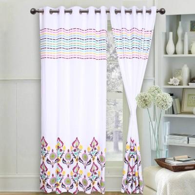 Elan Cotton Multicolor Printed Eyelet Window & Door Curtain
