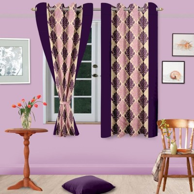 Home Fashion Gallery Polyester Purple Abstract Eyelet Door Curtain