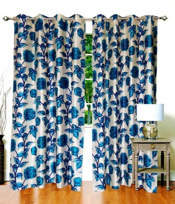 Deco Home Polyester Blue Floral Ring Rod Door Curtain
