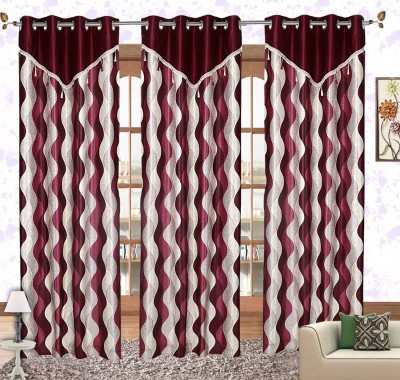 Comfort Zone Polyester Maroon And White Floral Eyelet Long Door Curtain