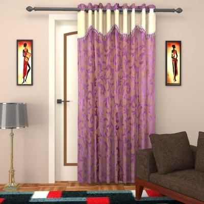 Elegance Handlooms Polyester Purple, Sandal Floral Concealed Tab Top Door Curtain