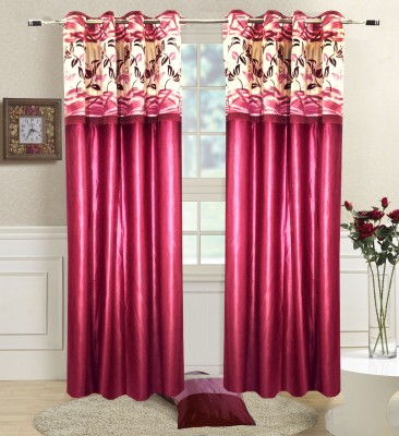 Homefab India Polyester Maroon Solid Eyelet Door Curtain